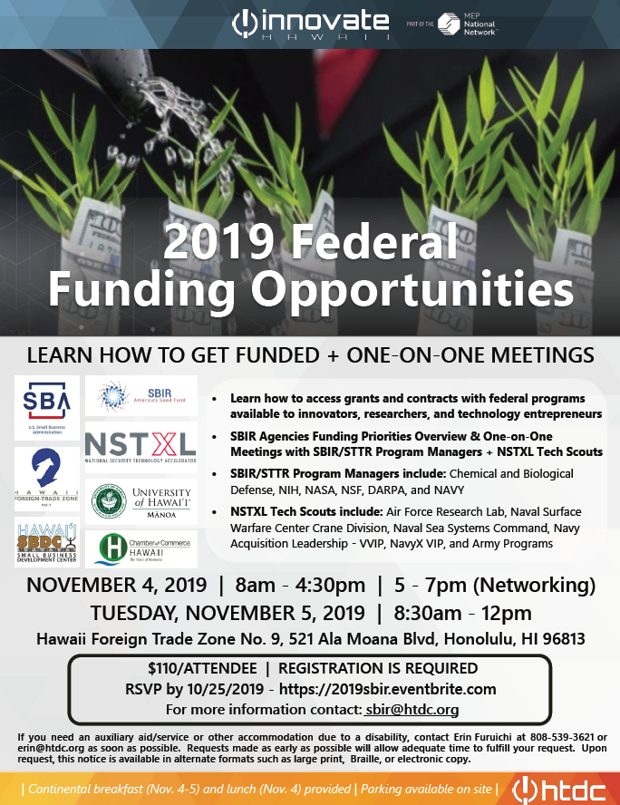 Learn how to access federal funding and meeting one on one with Small Business Innovation Research and Small Business Technology Transfer Program Managers and Tech Scouts at this event.