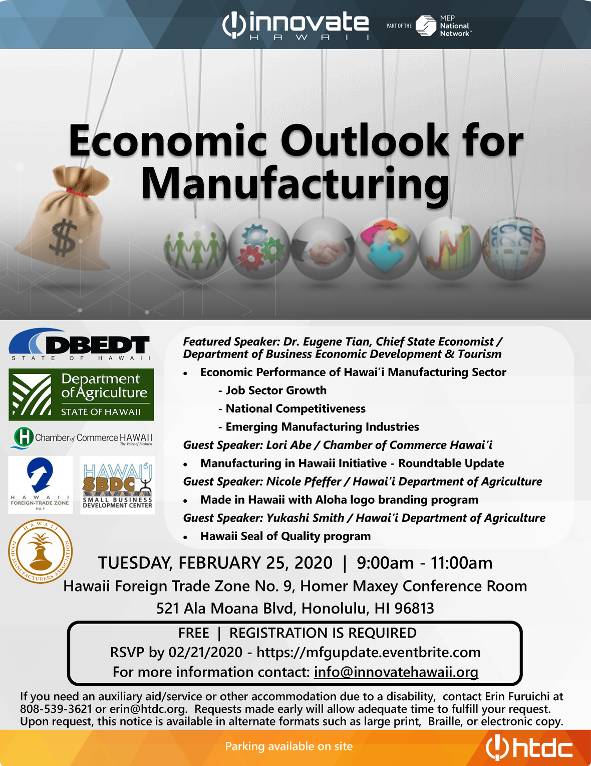 event flyer economic outlook for manufacturing