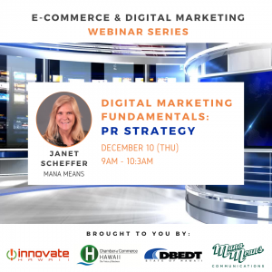 Banner featuring Janet Scheffer of Mana Means for PR Strategy webinar