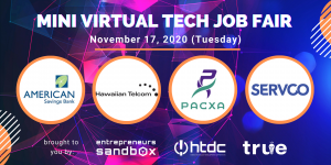 Banner featuring American Savings Bank, Hawaiian Telcom, Pacxa and Servco Pacific logos for virtual tech job fair