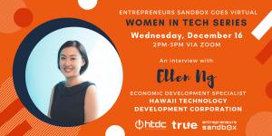 Women in Tech banner featuring Ellen Ng of HTDC