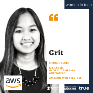 Women in Tech banner featuring Simone Smith of Amazon Web Services
