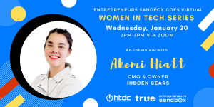 Women in Tech Banner featuring Akemi Hiatt of Hidden Gears