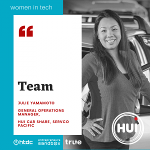 Women in Tech Banner featuring Julie Yamamoto of Car Share Hui